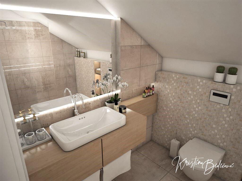 Návrh rodinného domu Rodinný dom s wellness, pohľad na umývadlo a zrkadlo rodičovskej kúpeľne