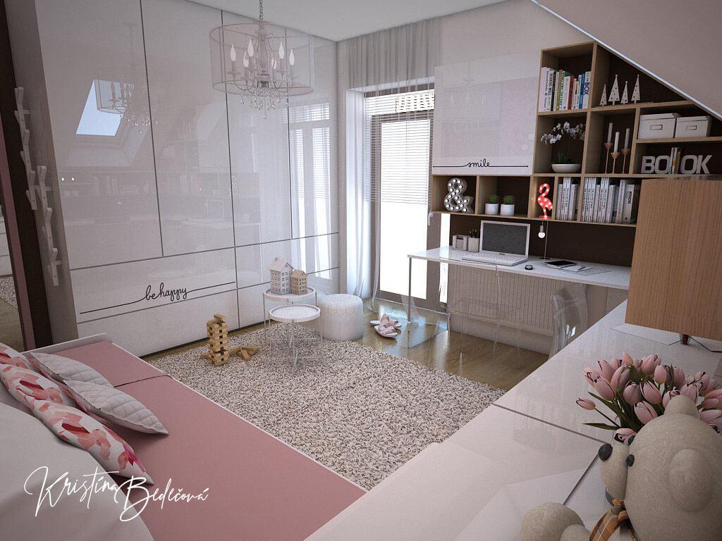 Návrh interiéru a vizualizácia detskej izby Sesterský duet, pohľad na úložný priestor