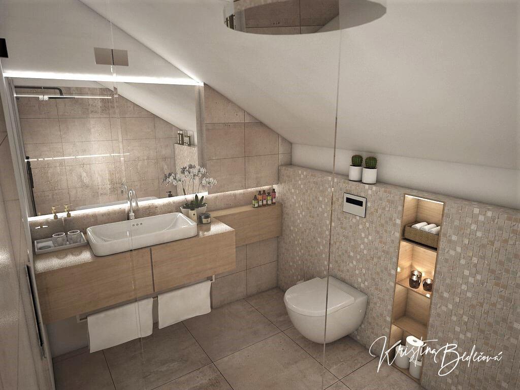 Návrh rodinného domu Rodinný dom s wellness, pohľad zo sprchového kúta rodičovskej kúpeľne