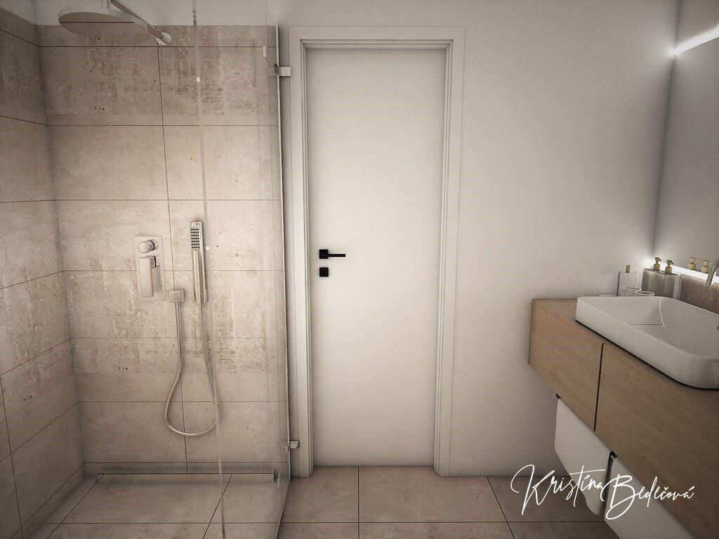 Návrh rodinného domu Rodinný dom s wellness, pohľad na vstup do rodičovskej kúpeľne