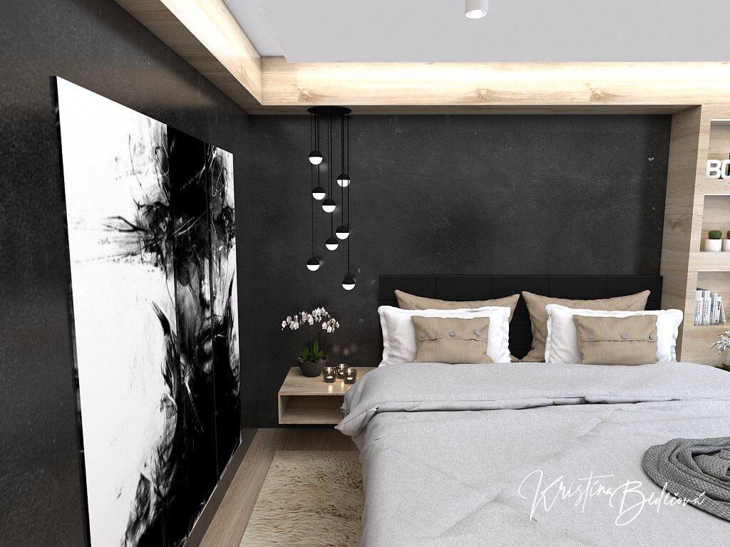 Dizajn interiéru spálne Čierna elegancia, pohľad na čiernu farbu v spálni