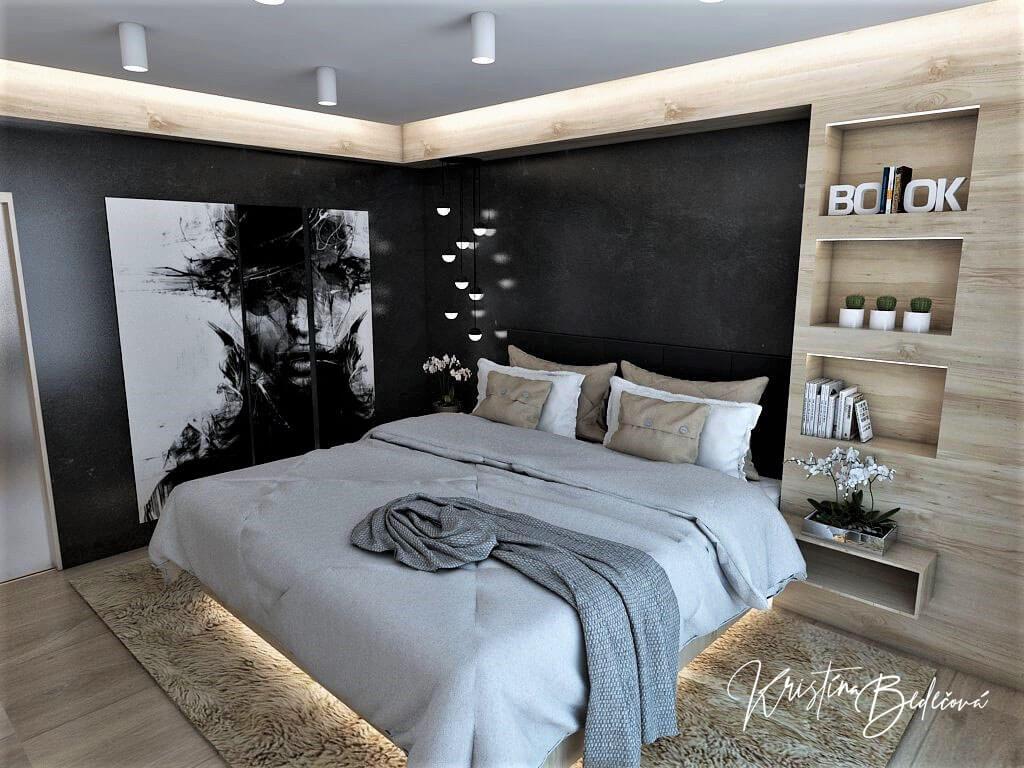 Dizajn interiéru spálne Čierna elegancia, pohľad z rohu spálne