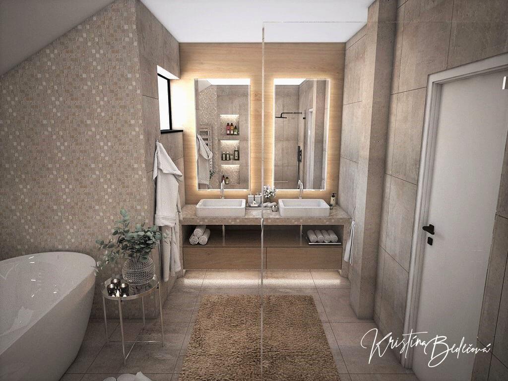Návrh rodinného domu Rodinný dom s wellness, pohľad umývadlá hlavnej kúpeľne