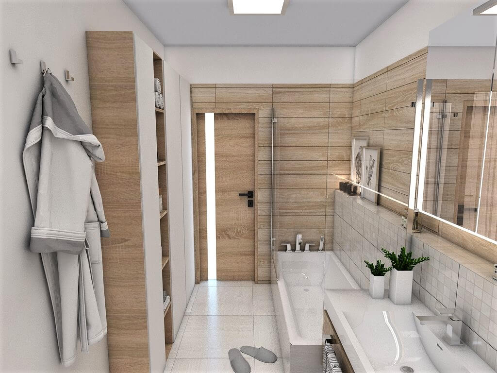 Návrh interiéru kúpeľní 2 v 1 pohľad na vstup do spoločnej kúpeľne a vaňu
