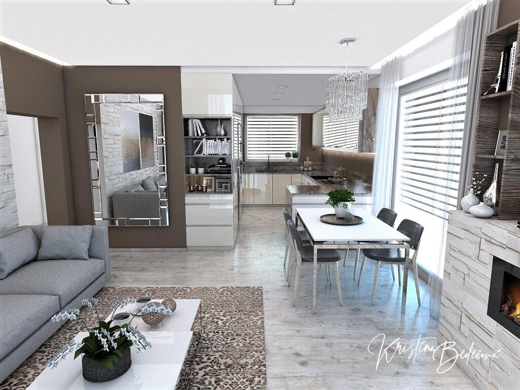 Dizajn kuchyne s obývačkou Fuknčná elegancia, pohľad do kuchyne a jedálne