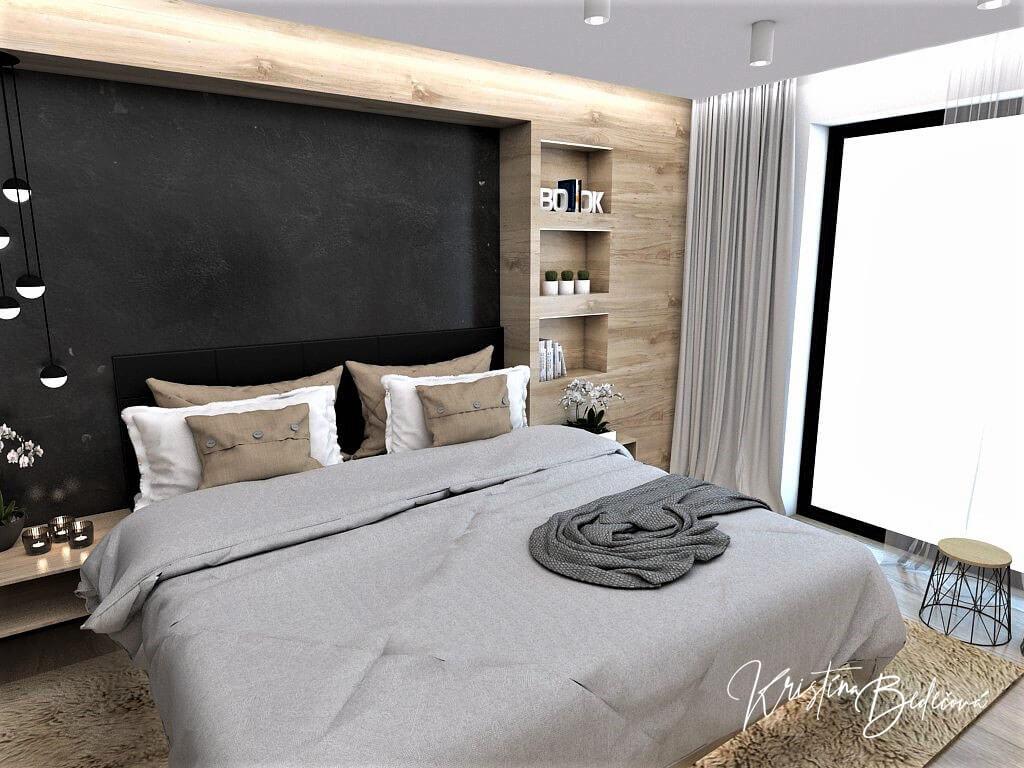 Dizajn interiéru spálne Čierna elegancia, pohľad na manželskú posteľ a okno
