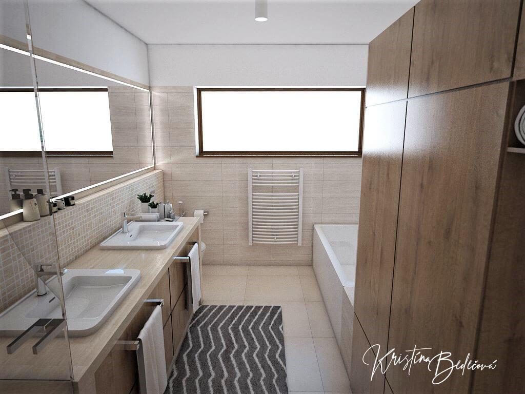 Vizualizácia interiéru kúpeľne Harmónia, pohľad od vstupu
