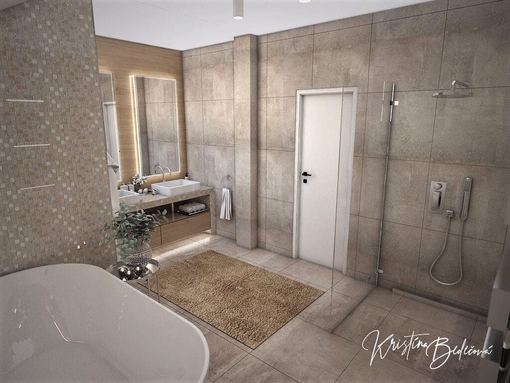 Návrh rodinného domu Rodinný dom s wellness, pohľad na vstup a umývadlá hlavnej kúpeľne