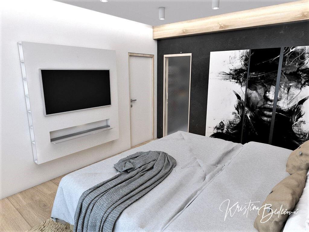 Dizajn interiéru spálne Čierna elegancia, pohľad na vstup do spálne