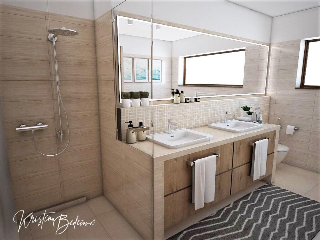 Vizualizácia interiéru kúpeľne Harmónia, pohľad na sprchový kút a umývadlá
