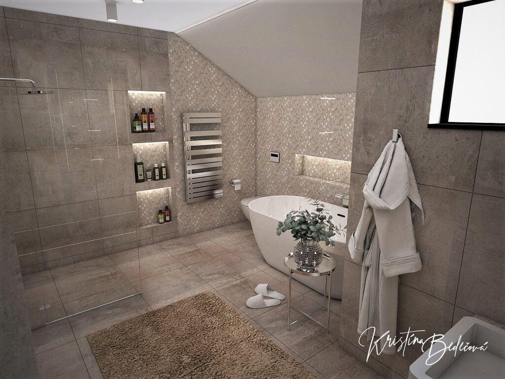 Návrh rodinného domu Rodinný dom s wellness, pohľad od umývadla hlavnej kúpeľne