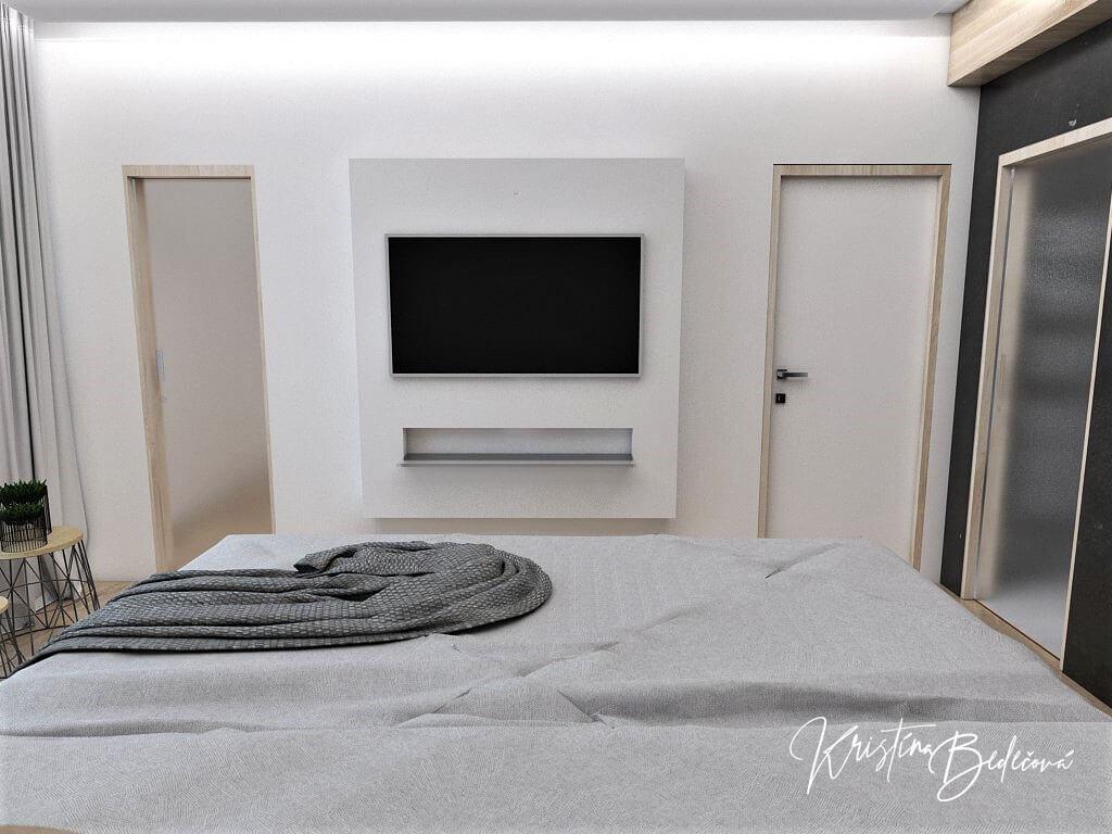 Dizajn interiéru spálne Čierna elegancia, pohľad na televízor z manželskej postele