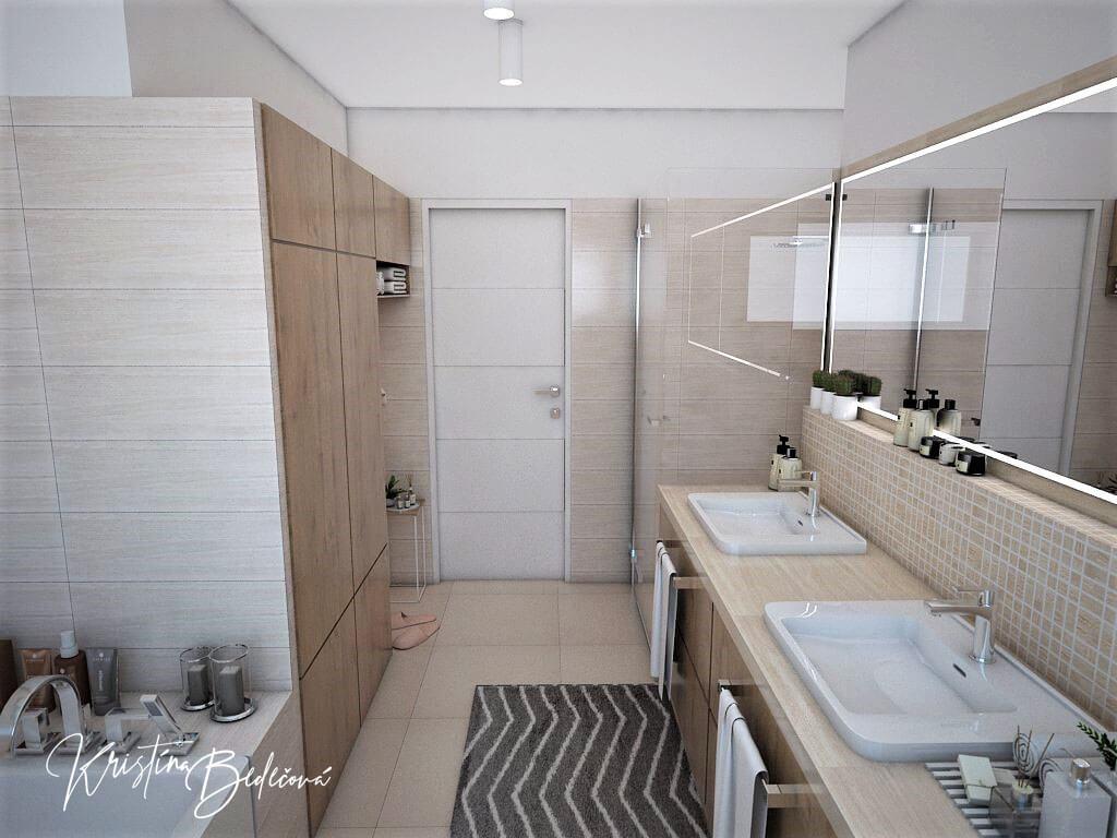 Vizualizácia interiéru kúpeľne Harmónia, pohľad na vstup do kúpeľne