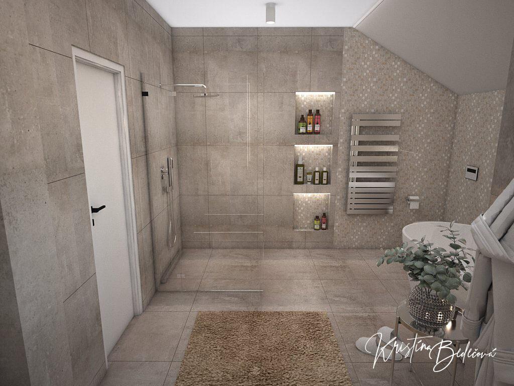Návrh rodinného domu Rodinný dom s wellness, pohľad na sprchový kút hlavnej kúpeľne