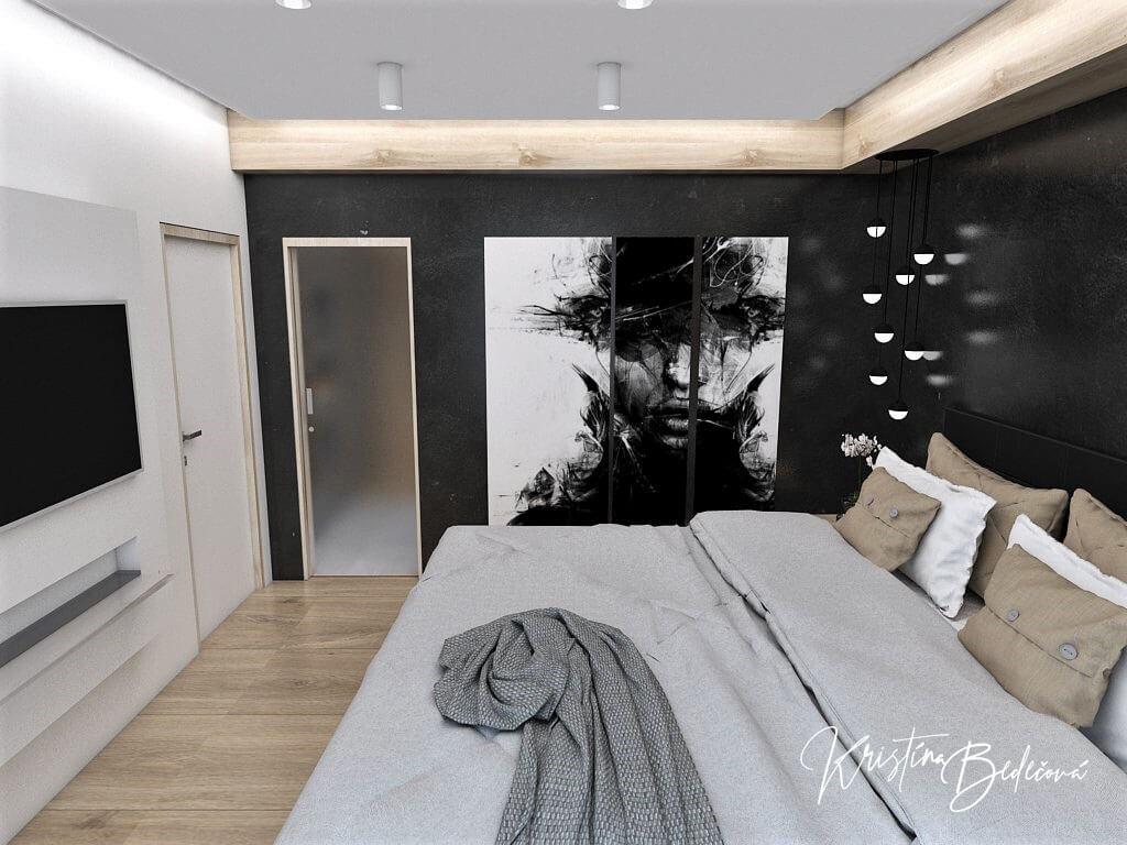 Dizajn interiéru spálne Čierna elegancia, pohľad cez manželskú posteľ na dvere a obraz