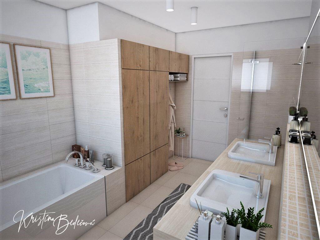 Vizualizácia interiéru kúpeľne Harmónia, pohľad vaňu