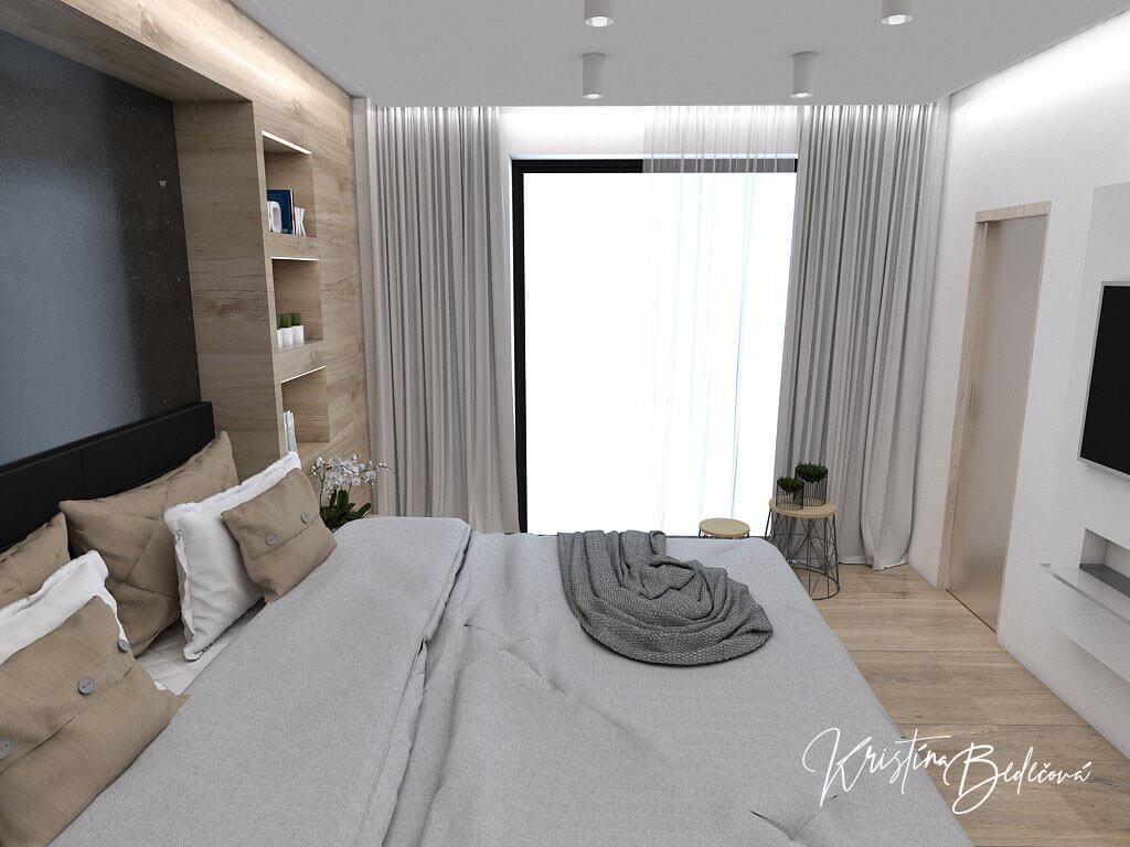 Dizajn interiéru spálne Čierna elegancia, pohľad na okno