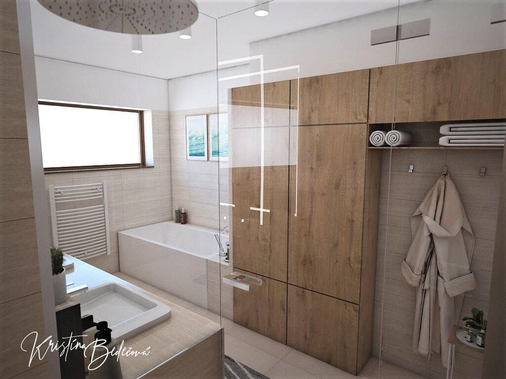 Vizualizácia interiéru kúpeľne Harmónia, pohľad zo sprchového kúta