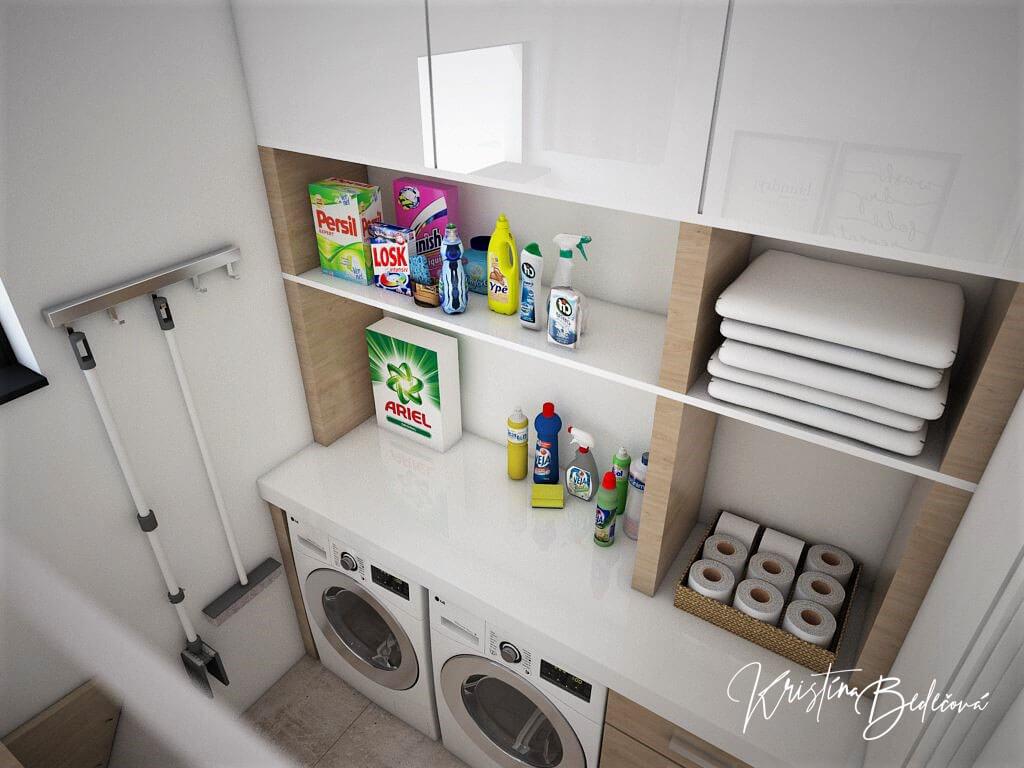 Návrh rodinného domu Rodinný dom s wellness, pohľad na práčku a sušičku v práčovni