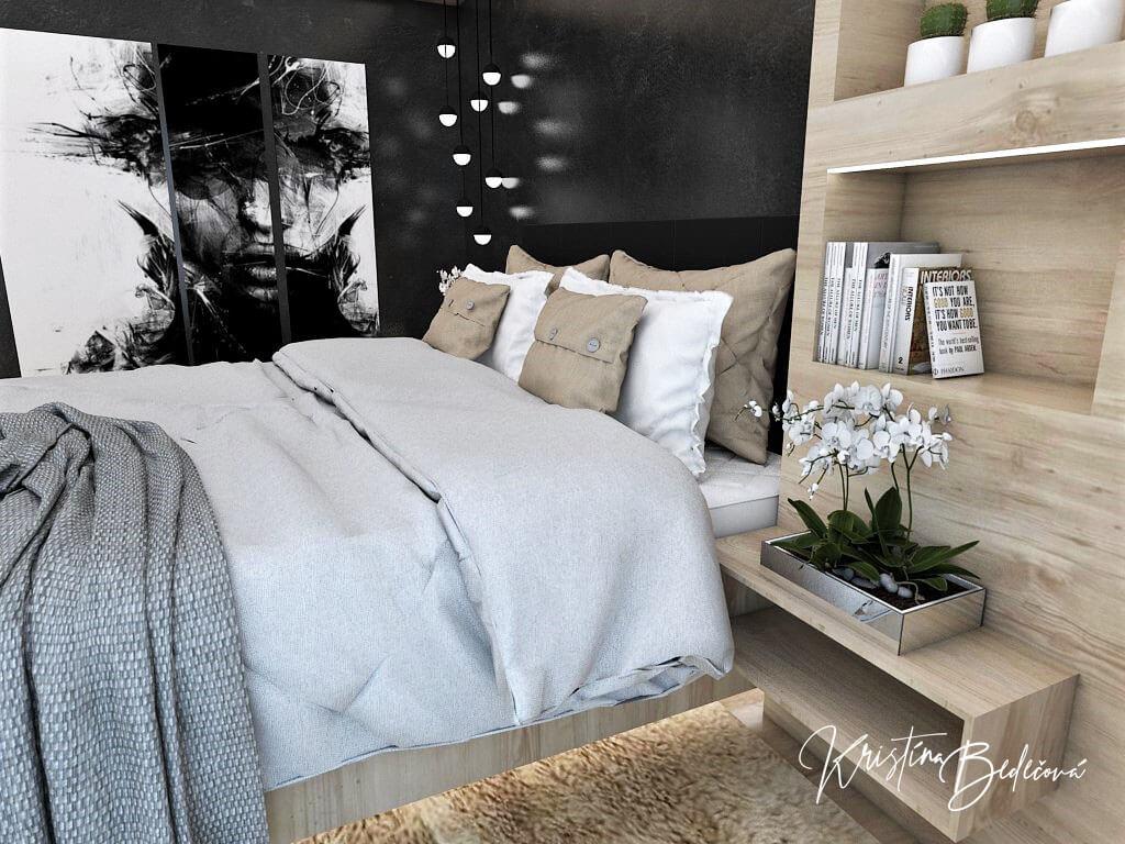 Dizajn interiéru spálne Čierna elegancia, pohľad na posteľ