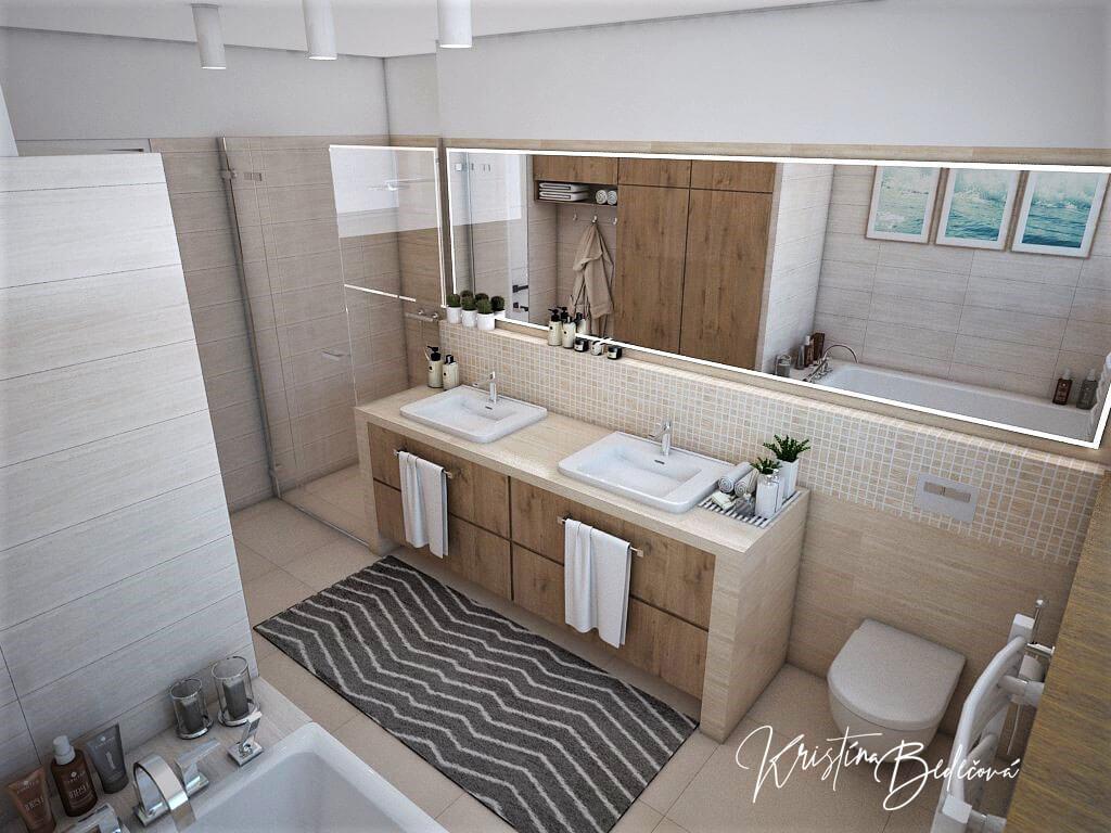 Vizualizácia interiéru kúpeľne Harmónia, pohľad na umývadlá a záchod