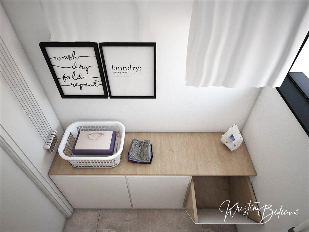 Návrh rodinného domu Rodinný dom s wellness, pohľad na koše na bielizeň v práčovni