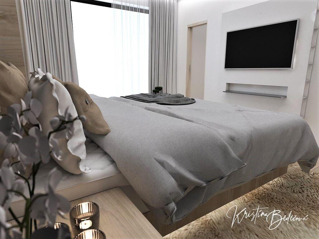 Dizajn interiéru spálne Čierna elegancia, pohľad cez manželskú postel na televízor a okno