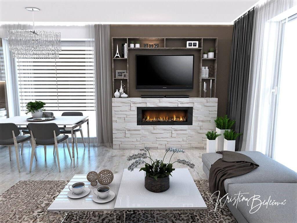 Dizajn kuchyne s obývačkou Fuknčná elegancia, pohľad na televízor s biokrbom