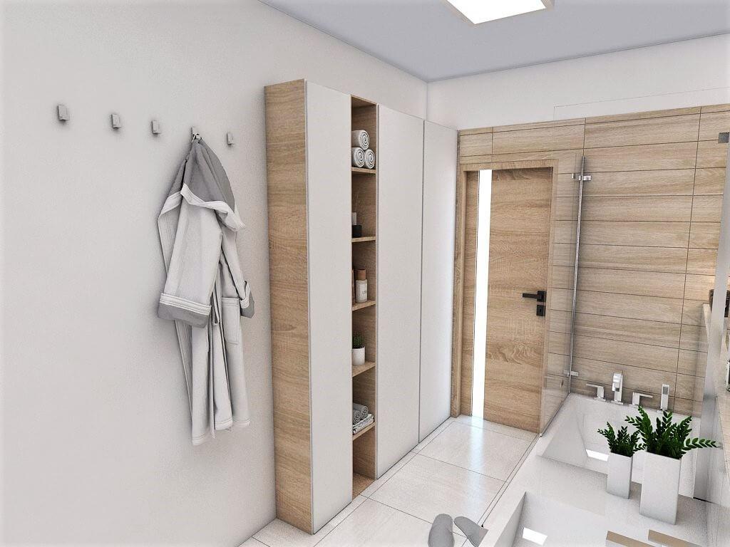 Návrh interiéru kúpeľní 2 v 1 pohľad na vstup do spoločnej kúpeľne a závesný systém