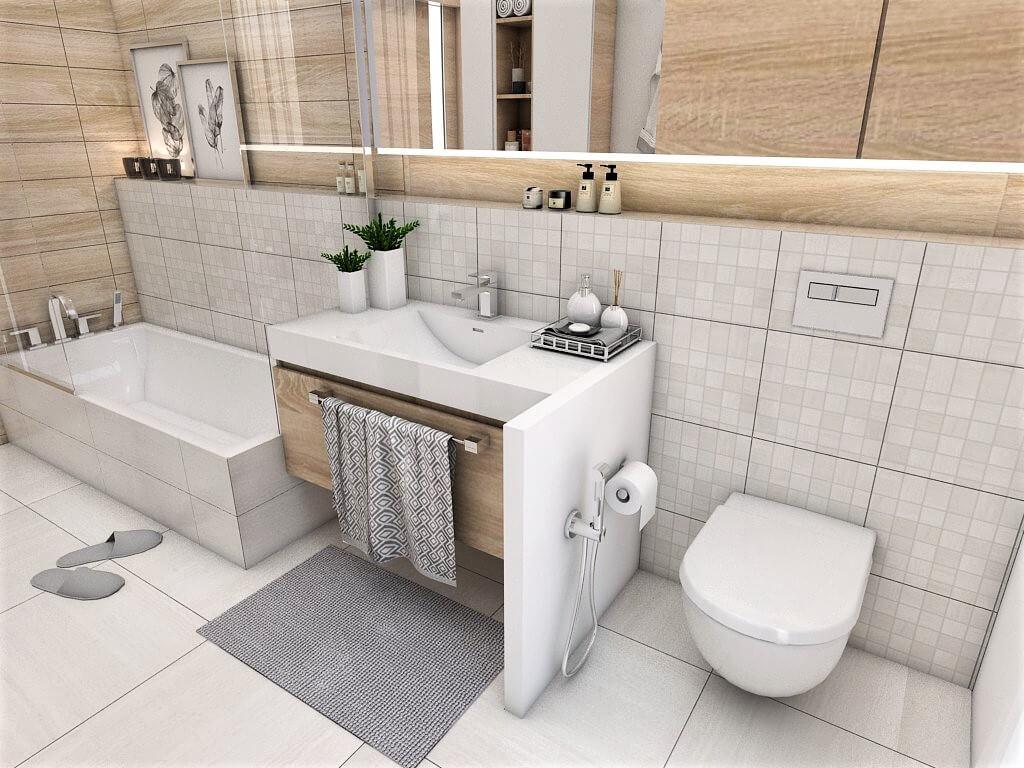 Návrh interiéru kúpeľní 2 v 1 pohľad na umývadlo a záchod spoločnej kúpeľne
