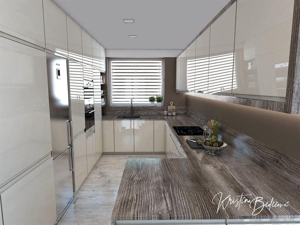 Dizajn kuchyne s obývačkou Fuknčná elegancia, pohľad do kuchyne