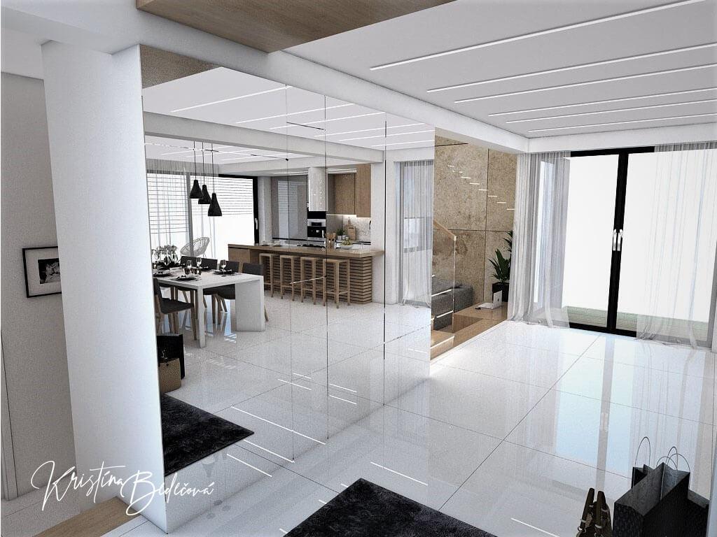 Návrh rodinného domu Rodinný dom s wellness, pohľad na zrkadlo od vstupných dverí
