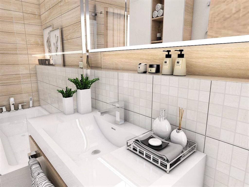 Návrh interiéru kúpeľní 2 v 1 pohľad na umývadlo spoločnej kúpeľne