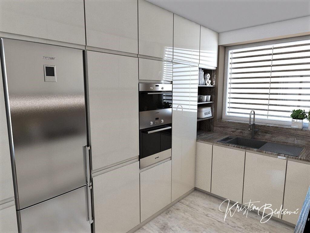 Dizajn kuchyne s obývačkou Fuknčná elegancia, pohľad na zabudované spotrebiče