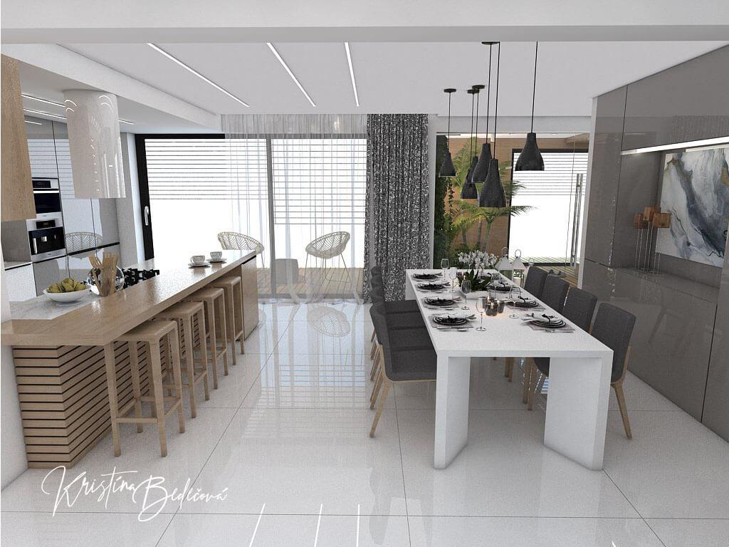 Návrh rodinného domu Rodinný dom s wellness, pohľad na jedálenský stôl