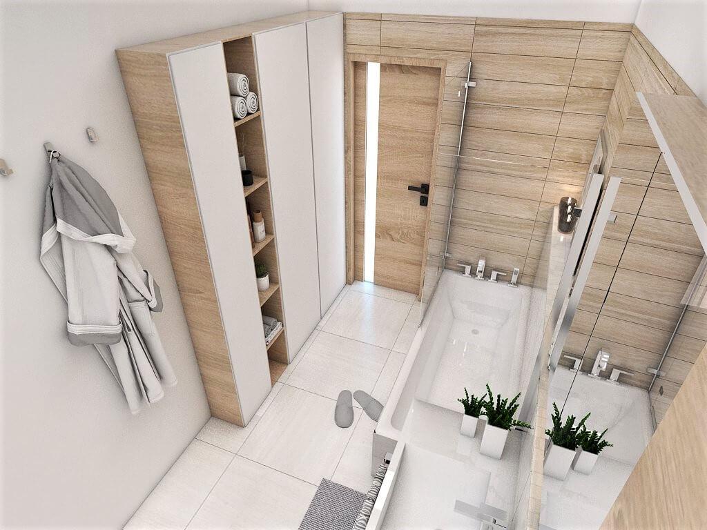 Návrh interiéru kúpeľní 2 v 1 pohľad na vstup do spoločnej kúpeľne