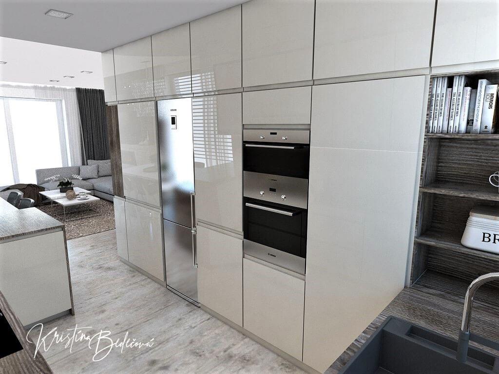 Dizajn kuchyne s obývačkou Fuknčná elegancia, ďalší pohľad na zabudované spotrebiče