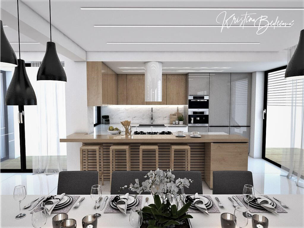 Návrh rodinného domu Rodinný dom s wellness, pohľad na kuchynskú linku