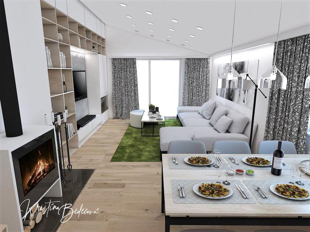 Návrh interiéru kuchyne s obývačkou Pod pultovou strechou, pohľad z jedálne