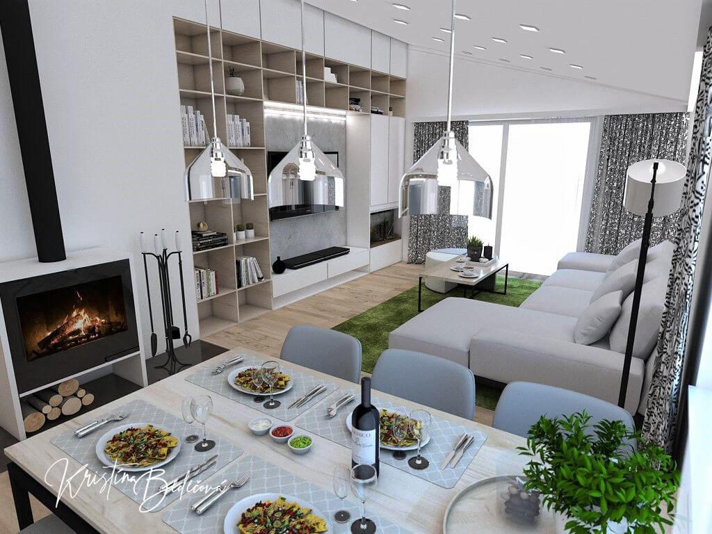 Návrh interiéru kuchyne s obývačkou Pod pultovou strechou, pohľad z jedálenského stolu