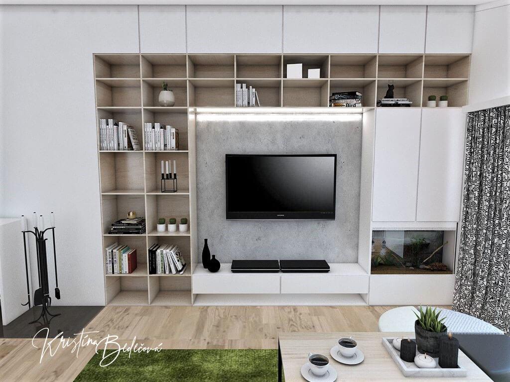 Návrh interiéru kuchyne s obývačkou Pod pultovou strechou, pohľad na televízor zo sedačky
