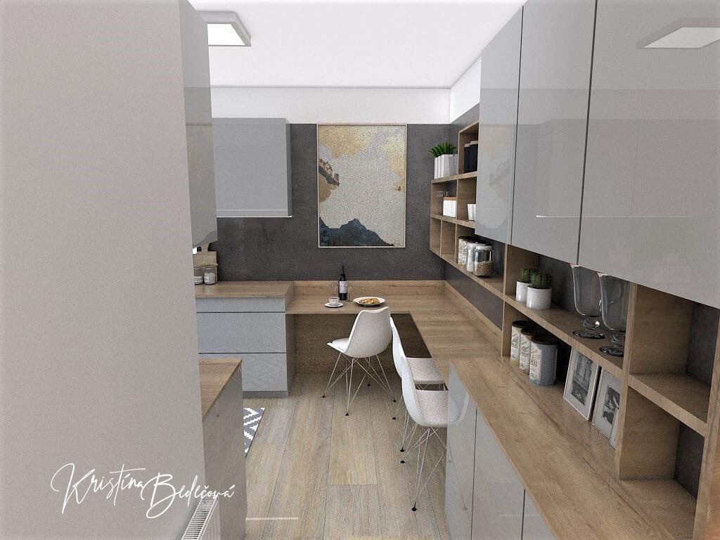 Návrh interiéru kuchyne Malá, no veľká zároveň, pohľad od vstupu do kuchyne