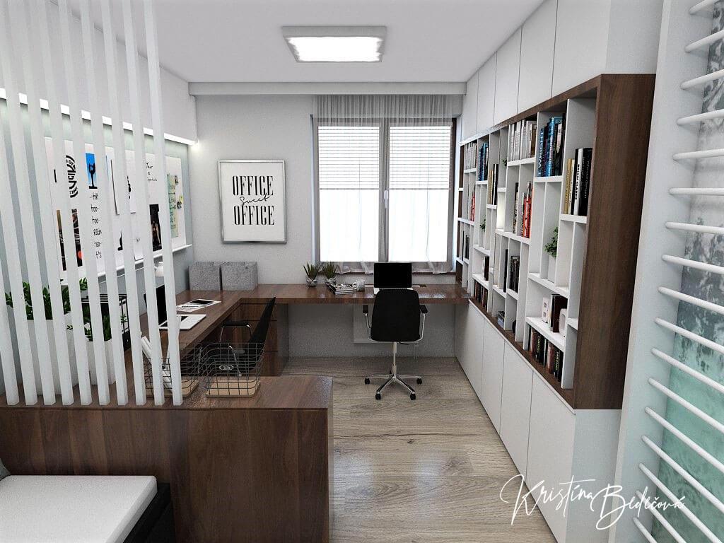 Návrh interiéru pracovne Keď práca teší, pohľad od vstupu
