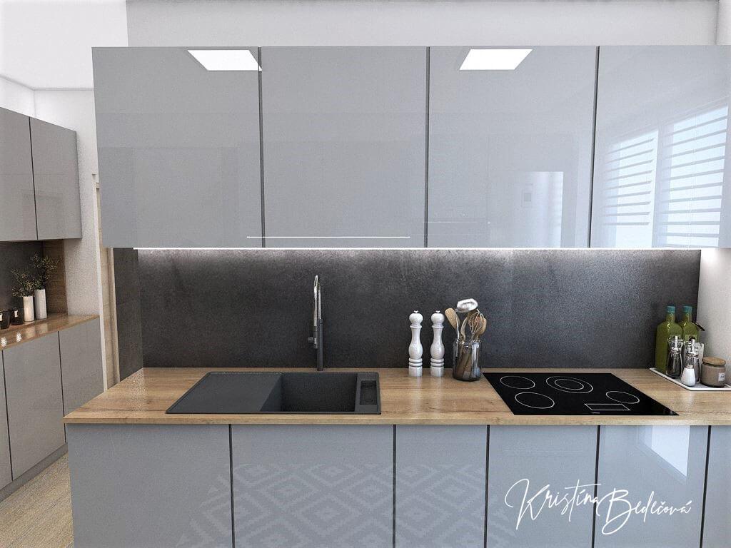 Návrh interiéru kuchyne Malá, no veľká zároveň, pohľad na varnú dosku a drez