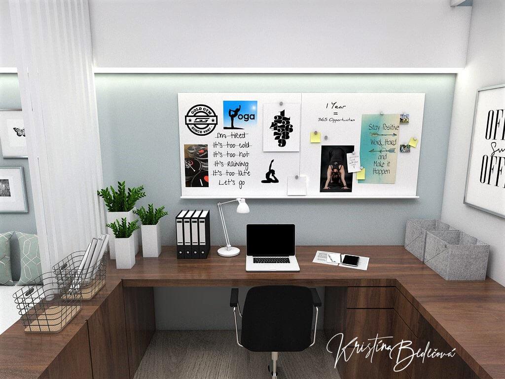 Návrh interiéru pracovne Keď práca teší, pohľad na pracovný stolík