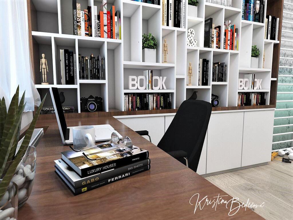 Návrh interiéru pracovne Keď práca teší, detail na miesto za pracovným stolíkom