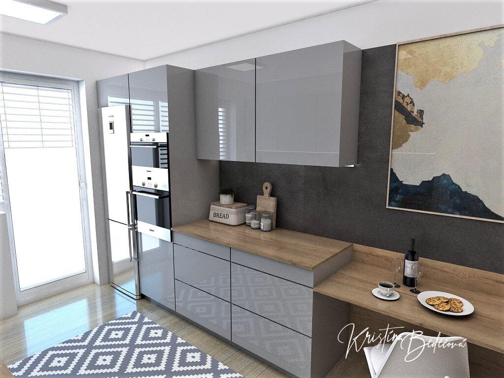 Návrh interiéru kuchyne Malá, no veľká zároveň, pohľad na druhú časť linky