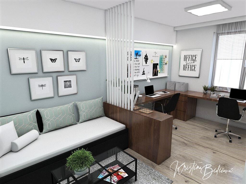 Návrh interiéru pracovne Keď práca teší, pohľad na rozkladaciu posteľ a pracovnú časť.