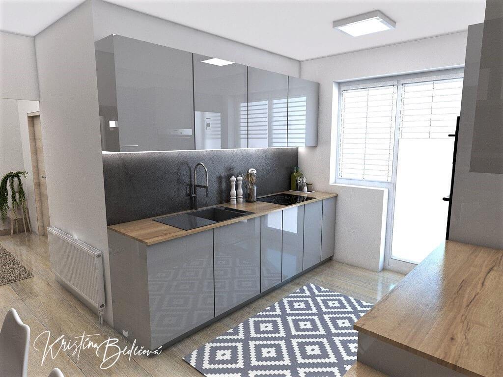 Návrh interiéru kuchyne Malá, no veľká zároveň, pohľad na časť linky