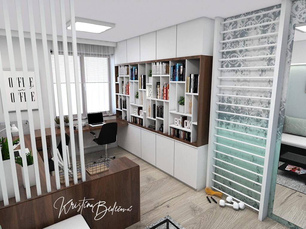 Návrh interiéru pracovne Keď práca teší, pohľad rebriny a odkladaciu časť